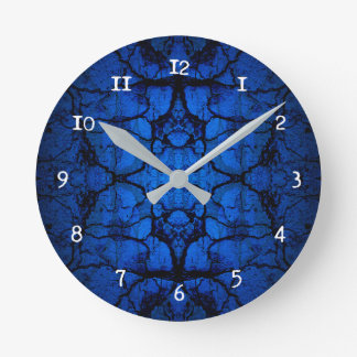Blue cracked wall pattern round clock