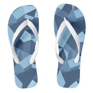 Blue crazy patchwork geometric shapes thongs