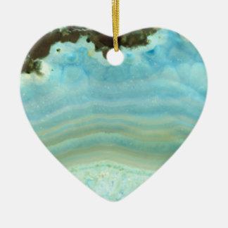 Blue Cream Agate Geode Gemstone Crystal Patterns Ceramic Ornament