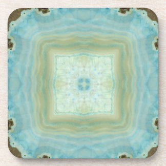 Blue Cream Agate Geode Gemstone Crystal Patterns Coaster