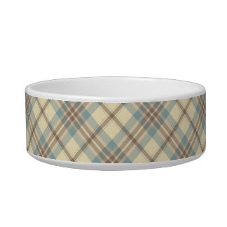 Blue, Cream, and Brown Plaid Bowl