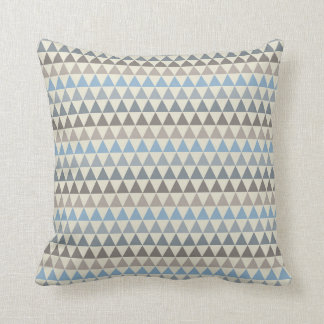 Blue Cream and Brown Triangles Throw Pillow