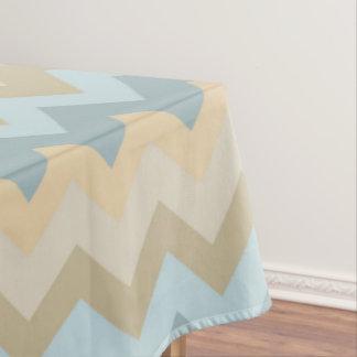 Blue Cream Chevron Stripes Tablecloth