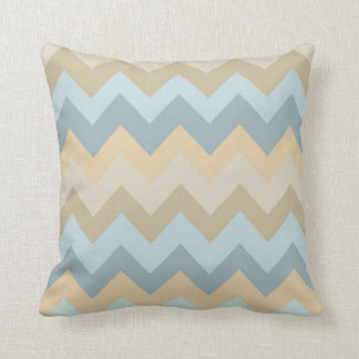Blue Cream Chevron Stripes Throw Pillow