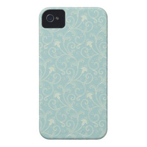 Blue cream floral swirls elegant blackberry bold blackberry cases