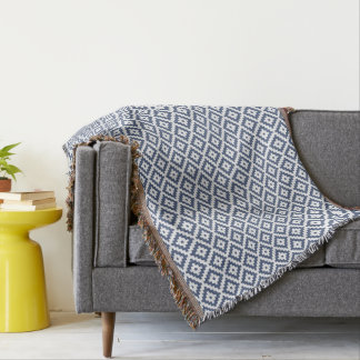 Blue & Cream Mayan Stepped Pattern Throw