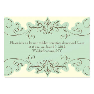 Blue Cream Swirl Elegant Wedding Reception Card Pack Of Chubby Business Cards