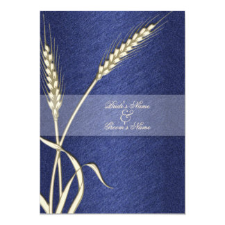 Blue cream wedding wheat flower 13 cm x 18 cm invitation card