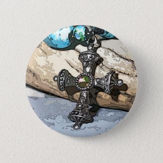 Blue Cross 6 Cm Round Badge