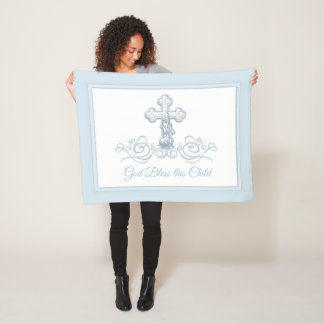 Blue Cross Baby Boy Baptism Blanket