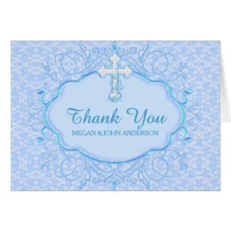 Blue Cross Baptism Christening Thank You Card