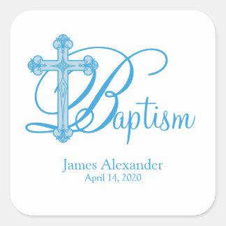 blue cross BAPTISM custom party favor label Square Sticker