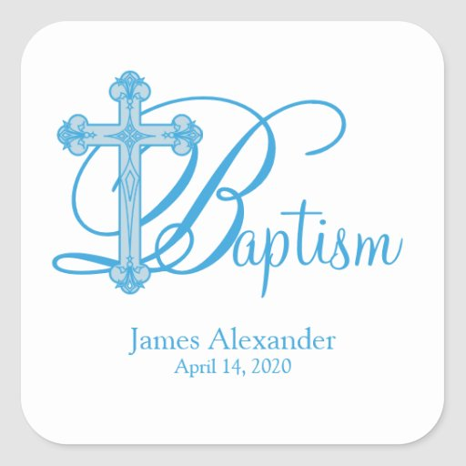 blue cross BAPTISM custom party favor label Square Stickers