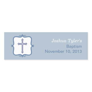 Blue Cross Baptism Small Tag Pack Of Skinny Business Cards