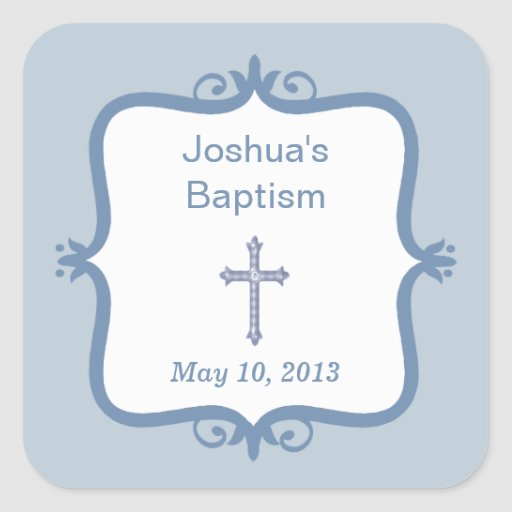 Blue Cross Baptism Square Sticker