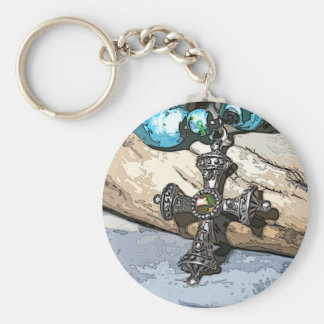 Blue Cross Basic Round Button Key Ring