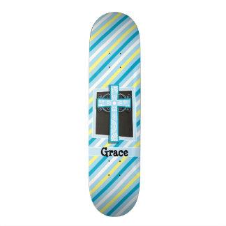 Blue Cross, Blue & Yellow Stripes Skateboard Decks