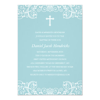 Blue Cross Boys Baptism/Christening Invitation