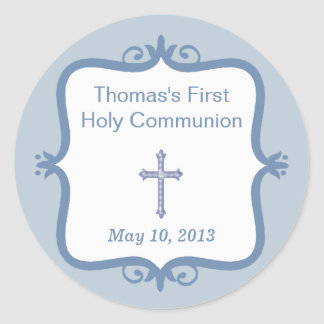 Blue Cross Communion Round Sticker