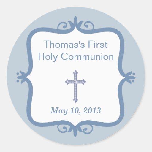 Blue Cross Communion Round Sticker