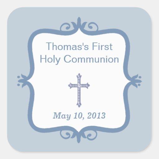 Blue Cross Communion Square Sticker