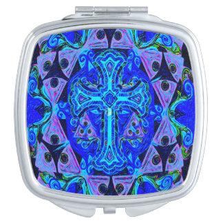 Blue Cross Pattern Vanity Mirror