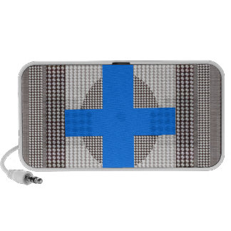 BLUE Cross Sparkle White Crystal Beads Gifts chr Mini Speakers