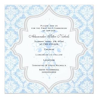 Blue Cross white damask burlap First Communion 13 Cm X 13 Cm Square Invitation Card