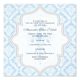Blue Cross white damask burlap First Communion 5.25x5.25 Square Paper Invitation Card
