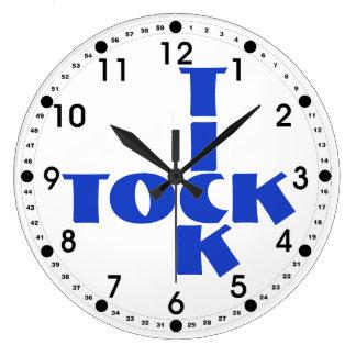 Blue Crossword Tick Tock Text Large Clock