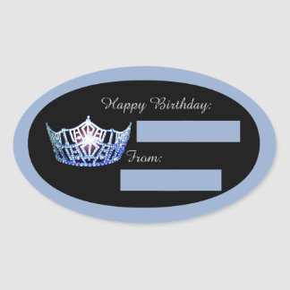 Blue Crown Birthday Gift Tag Stickers