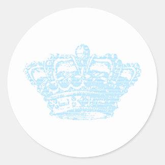 Blue Crown Round Sticker