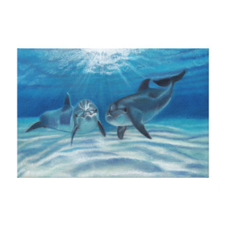 Blue Crush Dolphins Canvas Print