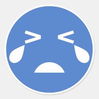 Blue crying face emoji round sticker