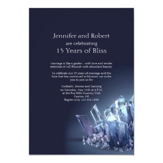 Blue Crystal 15th Wedding Anniversary Card