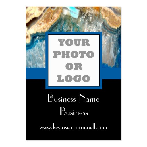 Blue crystal agate photo logo business card template