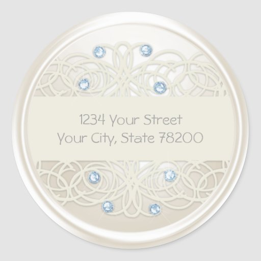 Blue Crystal and Pearl Damask Return Address Stickers