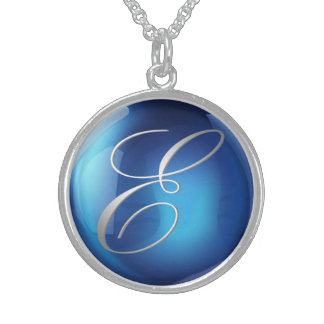 Blue Crystal Ball Sterling Silver Necklace
