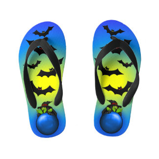 Blue Crystal Ball Witch and Bats Kid's Thongs