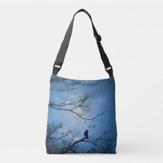 Blue Crystal Crow Crossbody Bag