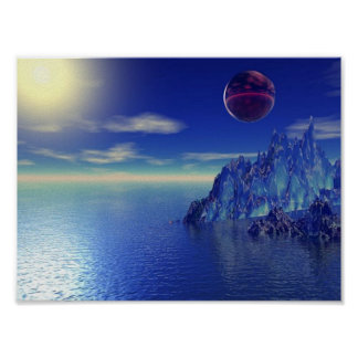 Blue Crystal Mountain Poster