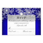 Blue Crystal Pearl Snowflake Silver Winter RSVP 9 Cm X 13 Cm Invitation Card