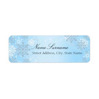 Blue Crystal Snowflake Christmas Address Labels