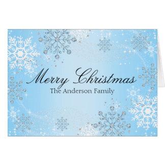 Blue Crystal Snowflake Merry Christmas Card