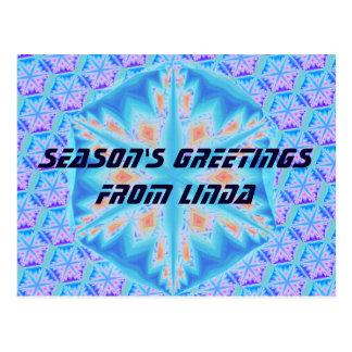 Blue crystal snowflake postcard