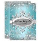 Blue Crystal Snowflake Princess Quinceanera Card