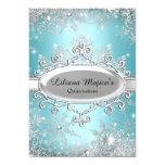 Blue Crystal Snowflake Princess Quinceanera 13 Cm X 18 Cm Invitation Card