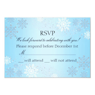 Blue Crystal Snowflake Winter Wonderland RSVP Personalized Invite