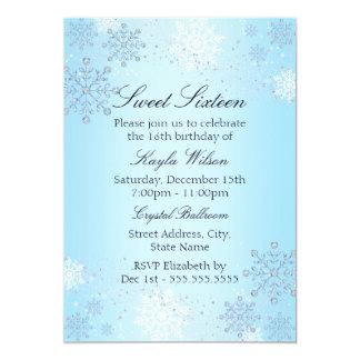 Blue Crystal Snowflake Winter Wonderland Sweet 16 13 Cm X 18 Cm Invitation Card