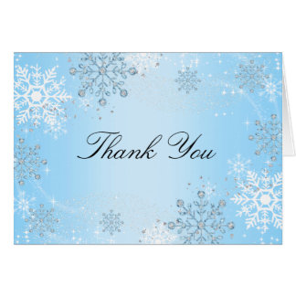 Blue Crystal Snowflake Winter Wonderland Thank You Note Card